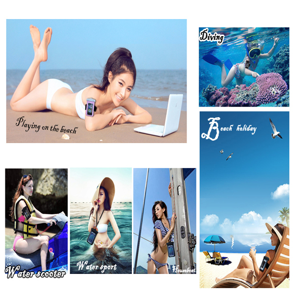 Eco-friendly ladies cell phone plastic bag for iphone 4/4s, waterproof bag for beach