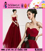 2015 New Arrive Sexy Strapless Evening Dress Europe Style Elegant Lace Cheaper Wholesale Bride Red Dress