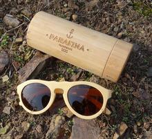 Eco-friendly bamboo sunglasses with tube case ,custom brand logo engraved