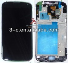 Cell phone LCD display with frame for LG Google Nexus 4 E960