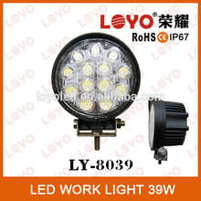 Newest Heat 2015 for all cars 39w led work light round black and white hosing with spot and flood beam