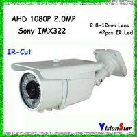 China Factory Price Housing Security Camera Analog 1080P CCTV Camera 3-Axis Design Sony IMX322 AHD Camera Manual Zoom Camera