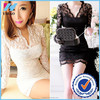 Yihao 2015 New Sexy Women Deep V Lace Long Sleeve Mini Dress Bodycon Hollow Out Club Party Dresses
