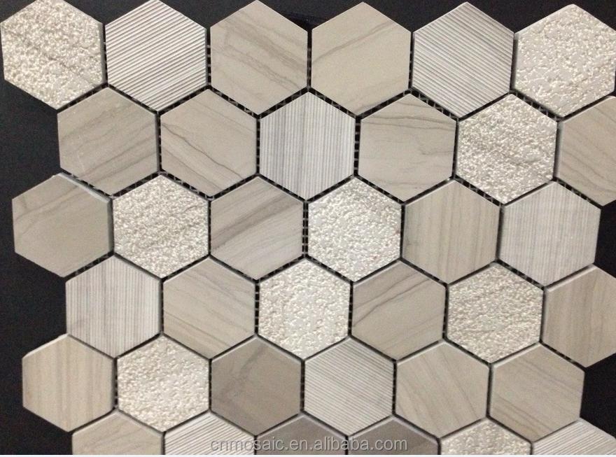 Hexagonal vena de madera mosaico de azulejos para el piso for Mosaicos para pisos precios