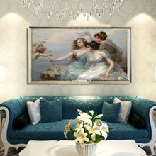 Hot Canvas art work Painting canvas flying fairy family naturalism photo oil painting for bedroom home decor made in china