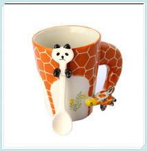 Giraffe Style ceramic coffee mug with spoon in mug