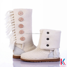 Vogue handmade innovation shearling sheepskin white winter snow girls tall boots plus buttons