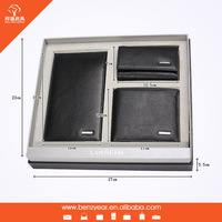 3PCS Set with Gift Box Genuine Leather Wallet Credit Card Holder Key Holder wallet Custom Cheap Wallet gift set