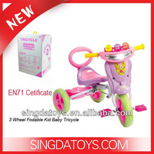 HOT!! With EN71 Cetificate Plastic 3 Wheel Fodable Kid Baby Tricycle new models