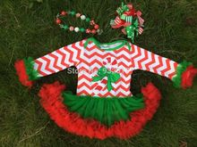 2014 baby Christmas tree rompers with tutu dress long sleeve chistmas romper with chunky necklace set
