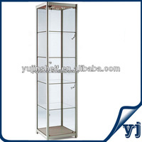 Rectangle titanium alloy tall glass display case with led light