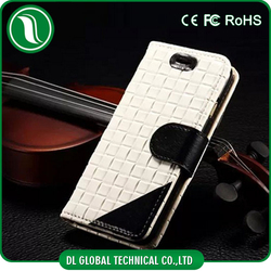 New Arrival Grid Pattern PU Leather Cell Phone Case For iPhone 6, Leather Case For iPhone 6 Plus