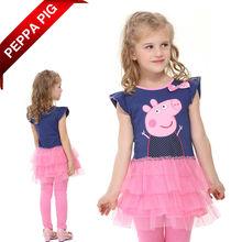 2014 niños ropa de bebé de peppa pig las niñas ropa de verano de retazos de encaje vestido de princesa 12090