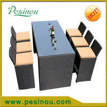 Modern Minimalist Dinning Sets / Rattan Furniture Garden Space-saving Diing Set 6 Chairs and Table