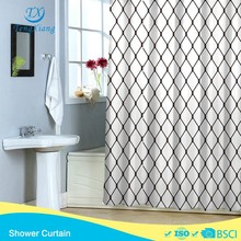 Fishing net black and white new products polyester shower curtain hook less