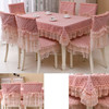 Charming HIgh Quality OEM Wholesale Pink Lace Ruffle Rectangle Wedding Tablecloth For China Factory B014