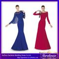 Designers 2014 novos modelos de alta qualidade hot pink e azul royal sereia de manga comprida vestido apertado( zx464)