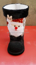 Laest Design Velvet Black Boots in 12cm with Santa Claus Pattern for Christmas Decoration