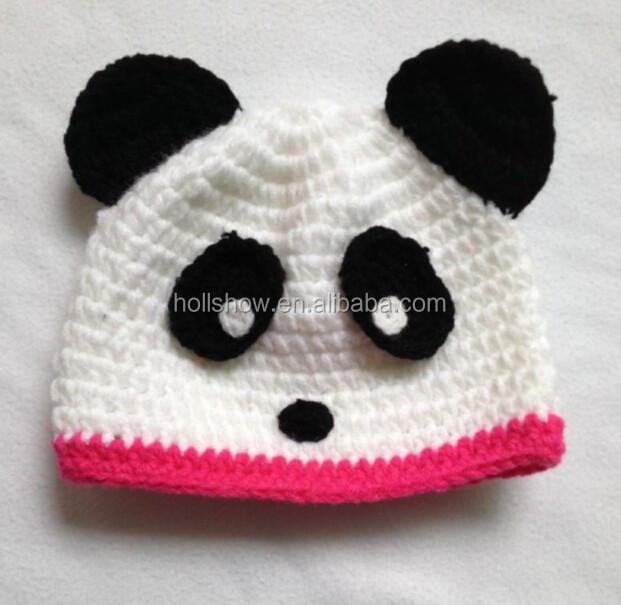 Manufacturer 100% Acrylic Soft Felt Animal Panda Hand Made Crochet Patterns Baby Kids Beanie Caps and Hats