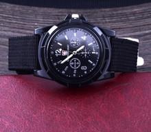 Fashion Fabric Black Watch Men's Round Dial Quartz Watches Outdoor Wristwatch