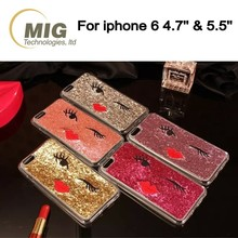 Bling bling good looking twinkle eye cell/ mobile phone case for iphone 6/ 6s plus, tpu sexy mobile phone cover with a red lip