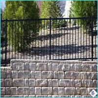 Galvanized Powder Coated 2-Rails Flat Top stone pillars steel fence