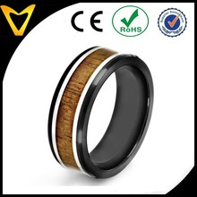Alibaba China Hot Product 2015 Fashion Jewelry Ring Men's Black Plated Stainless Steel Wood Inlay Ring