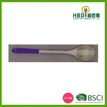 High quality bamboo slotted spoon with silicone