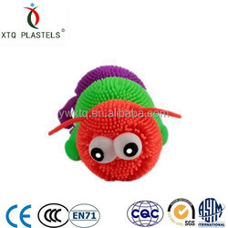 Factory soft plastic rubber 3 joints big eyes caterpillar children toy colorful