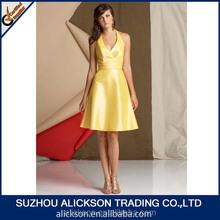 Contracted Ruffle Halter Knee Length Open Back Halter Top Bridesmaid Dresses 2014