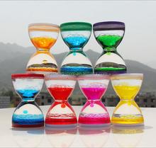 Beautiful upward liquid glass sand timer/Liquid bubble Sand Timer/promotional gift liquid bubble hourglass