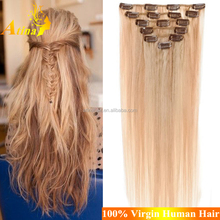 Factory Wholesale Full Cuticles Thick Bottom European Clip In Hair One Piece Clip In Human Hair Extensions