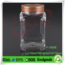 1.5L transparent pet plastic bottles, alibaba China clear pet plastic jars, candy nut fruit packaging containers wholsale