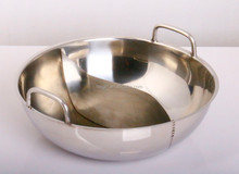 Jiangmen Leegin factory Big Size 3 Layers Induction Bottom Stainless Steel Restaurant Divided Hot Pot with Divider