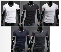 t-shirt Men Classic solid color V neck short sleeves lycra cotton 96% cotton t shirt for man tshirt