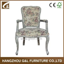 French style Louis Antique Wooden Fabric Grey Dining Arm Chair