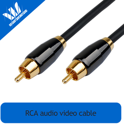 24k Gold Plated 1 RCA to RCA Audio Cable with black copper metal shell 2-Pack
