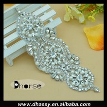 Hotsell Silver Beaded Crystal Rhinestone Appliques For Sash Accessories DH-871