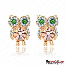 18*13mm Austrian Crystal Owl Animal Stud Earrings Jewelry Girls Party Gift Earrings ER0006-C