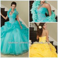 Beautiful Sweetheart Organza With Beading Ball Gown Matching Bolero Jacket Turquoise Wedding Dress