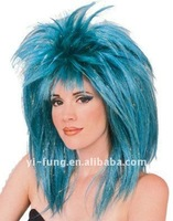 Adult Womens Teal Blue 80s Big Hair Spiked Costume Wig
