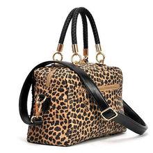 Ladies casual sexy leopard bag cross body handbags black shoulder tote bag wholesale