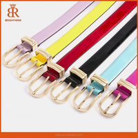 2015 New 6 color Metal beltbuck Slim Thin leather belt, fashion Candy-colored women belt, casual jeans belts