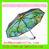 hand open 3 section shaft lined umbrella