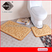 100% polyester memory foam solid color printed flannel bath mat