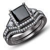 2015 factory fashion jewelry wholesale 925 silver black plating ring set