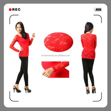 2015 beautiful seamless hot sell long sleeve with lace on back and sleeve