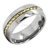 Fashion wholesale Tungsten Carbide Yellow Gold Chain inlay Tungsten Wedding Band Ring
