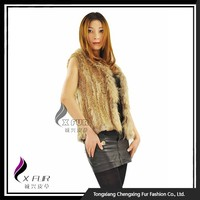 CX-G-B-118D Real Rabbit Fur Knitted Rabbit Fur Fashion Vests For Women