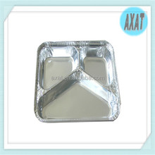3 compartment disposable rectangular divided aluminium foil container with lid